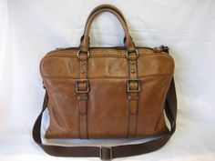 Vintage Fossil Soft Brown Leather Messenger Bag Briefcase Computer Laptop Tote Satchel by CLASSYBAG on Etsy
