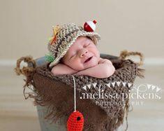 Gone Fishing neonato ragazzo foto Prop Hat e di CraftyKsCrochet