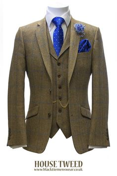 Our award-winning exclusive house 3-piece tweed suit hire package is priced at £189 per outfit. Unlike the outfits from the few competitors out there stocking similar outfits, our house tweed is 100% pure wool milled in Scotland. The quality of both the cloth and the suit itself is completely unrivalled and the bold blue overcheck ensures that nothing else compares.