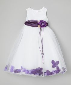 Another great find on #zulily! White & Purple Floral A-Line Dress - Toddler & Girls by Kid's Dream #zulilyfinds