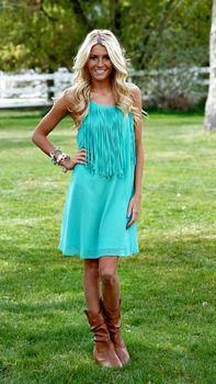 Rodeo Fringe Dress Turquoise - Modern Vintage Boutique