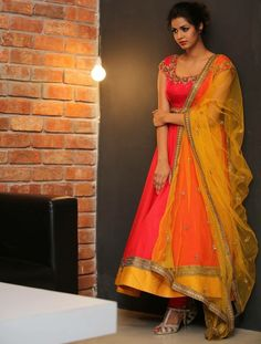 Poly+Silk+Machine+Work+Pink+Semi+Stitched+Long+Anarkali+Suit+-+NA28 at Rs 1999