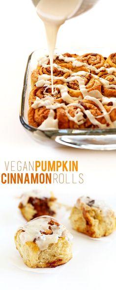 EASY Pumpkin Cinnamon Rolls! Made in 1 bowl.  #VeganRecipes #Breakfast Recipes #EasyBreakfast
