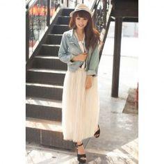 Elegant Elastic Waist Solid Color Pleated Tulle Skirt For Women