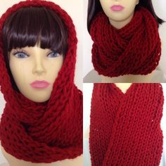 Knitted Infinity Loop Scarf in Red £9.00