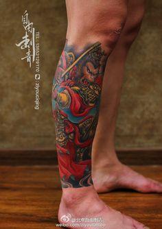 chinese mokey king colour leg tattoo by tang ping ziyou tattoo Armband Tattoos For Men, Leg Tattoo Men, Leg Tattoos, Arm Band Tattoo, Japanese Leg Tattoo, Japanese Tattoo Designs, Japanese Sleeve Tattoos, Tatoo Designs, Dragon Tattoo Designs