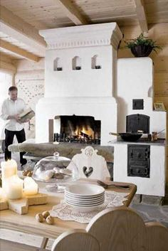 Wood burning stove cottage mantels new ideas Cordwood Homes, Stone Fireplace Surround, Suburban House, Adobe House, Farmhouse Style Kitchen, Home Room Design, Facade House, Building A House, Restaurants