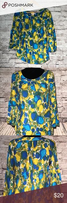 """Rebecca Taylor Ladies Silk Blouse Sz 8 BoHo Very Good Condition there is an orange mark on the tag classic neckline BoHo style Yellow Blue bust 38"""" Length 27"""" Rebecca Taylor Tops Blouses"""