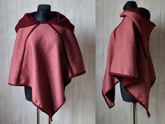 Handgenähter langer Wendegugel, kurzer Umhang aus Schurwolle / hand sewn turn-around cape for medieval reenactment from pure new wool