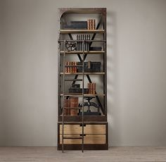 1950s Dutch Shipyard Tower  $1795 - $1995      Industrial 1950s shelving that once organized tools and parts in a Dutch shipyard inspired our authentic reproduction. Discovered in an auto body shop in Rotterdam, we replicated the original's exposed rivets, X-back bracing and moveable ladder, which, in years past, allowed the shipwright to access the lofty upper shelves. Crafted from solid walnut and iron, its antique finish replicates an aged, worn patina.