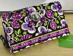 NWT Vera Bradley Turn Lock Wallet in Plum Petals