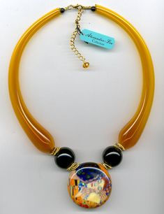 "Klimt's ""The Kiss"", Blown Glass, Topaz Tube Necklace"