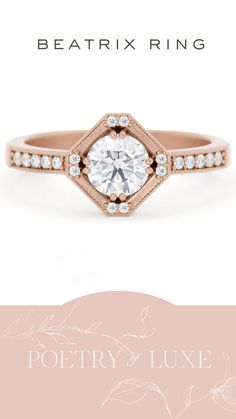 Rose Gold Diamond Ring - Art Deco Ring - PoetryofLuxe.com Vintage Inspired Engagement Rings, Halo Engagement Rings, Wedding Proposals, Wedding Inspiration, Wedding Ideas, Paris Wedding, Rose Gold Diamond Ring, Art Deco Wedding, Something Old