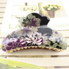 Korea purple + gold + black pattern acrylic hairpin