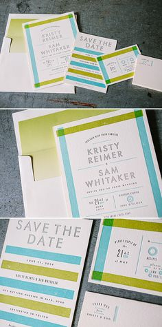 Modern letterpress wedding invitations by Erin Jang for Bella Figura featuring surf, chartreuse, and pewter inks