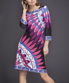 Pink & Black Geometric Sheath Dress