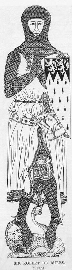 Sir Robert de Bures, memorial brass, c.1302