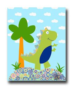 Kids art, dinosaur nursery wall art, baby boy wall decor, dinosaur crib bedding…