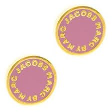 #Marc by #Marc #Jacobs #Classic Enamel Disc Logo #Stud #Earrings, #Gold/Pink