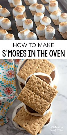 OVEN BAKED S'MORES - Perfectly Roasted Marshmallows Right In Your Oven Baked S'mores in the Oven - A yummy recipe for s'mores if you don't want to make a campfire. This is just as good as the original! Oven Smores, Baked Smores, Smores In The Oven, Yummy Treats, Delicious Desserts, Sweet Treats, Yummy Food, Yummy Yummy, Fun Food