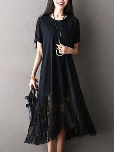 Casual Women Lace Patchwork Short Sleeve O-Neck Loose Long Dress - NewChic Mobile.