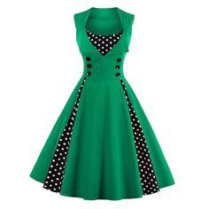 Midi Polka Dot Prom Dress - GREEN S