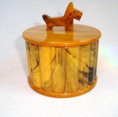 Art Deco Yellow Amber Bakelite Catalin Scottie Dog Box