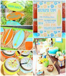 Surfer Boy Luau birthday party via Kara's Party Ideas KarasPartyIdeas.com #surfparty #luauparty #surferboy