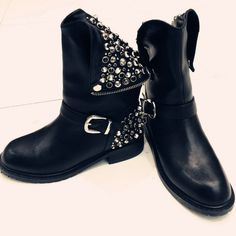 68.90$ Buy now - http://aliafq.worldwells.pw/go.php?t=32700162114 - Punk Rhinestone PU+Leather Square Low Heel Woman PU leather Ankle Boots Women Shoes Ladies Motorcycle Boot Size 34-43 68.90$