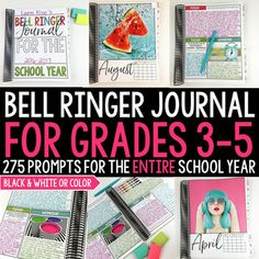 This EDITABLE bell ringer journal is for the entire school year including 275 journal prompts for 3rd, 4th, and 5th grade students. This product provides teachers with an entire school year of journal prompts in an organized and focused way.