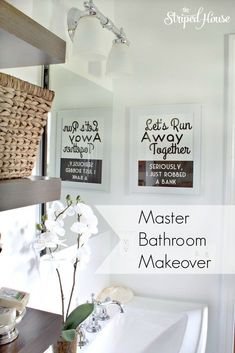 compact master bathroom makeover in all white