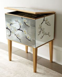 Mirrored Floral File Box at Horchow.