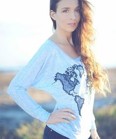 World Map long sleeve dolman slouchy shirt. light blue marble and navy water based ink