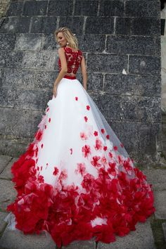 White Wedding Dresses, Long Wedding Dresses, Two Pieces Wedding Dresses White and Red Appliques Bridal Gown