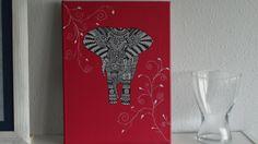 elefante estilo mandala dibujado con acrilicos