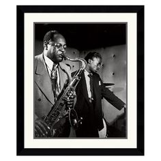 Coleman Hawkins and Miles Davis Framed Wall Art - 27.62W x 32.62H in. - DSW140841