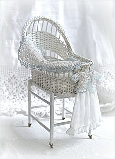 1:12th scale miniature wicker bassinet by Carolyn Lockwood, Esther Jones amazing tatted lace, baby dress Monica Roberts
