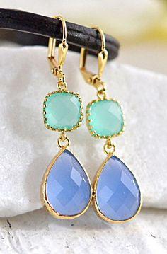 Aqua Wedding Jewelry. Aqua Bridesmaids Earrings.