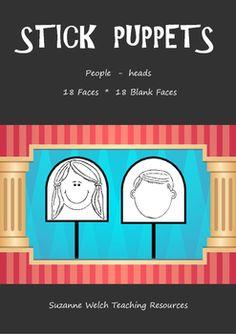 Stick Puppet templates.  Heads - draw a face.