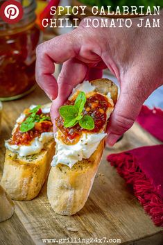 This Spicy Tomato Jam is Loaded with flavor from the tangy balsamic vinagar to the spicy Calabrian chilies. MUST TRY RECIPE!! Jam Recipes, Side Dish Recipes, Chili Recipes, Italian Recipes, Best Appetizers, Appetizer Recipes, Snack Recipes, Snacks, Tomato Jam
