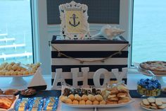 """Ahoy, it's a boy!"" Nautical Themed Baby Shower Dessert Table - so well executed!"
