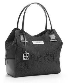 Calvin Klein Logo Jacquard Center Zip Hobo Handbag Satchel Purse Tote