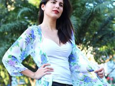 White Silky Chiffon Floral Kimono, Kimono Cardigan, Kimono Robe, Kimono Jacket / Sheer Cover Up - One Size This White Silky Chiffon Floral Kimono