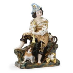 russian art | sotheby's A Russian Porcelain Group of a Shepherd and His Dog, Popov Porcelain Manufactory,  19th century