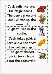 Jack and the beanstalk story word order - ESL worksheet by wimbles Fairy Tale Activities, Sequencing Activities, Book Activities, Educational Activities, Eyfs Jack And The Beanstalk, Fairy Tales Unit, Story Sequencing, Sequencing Cards, Fairy Tale Theme