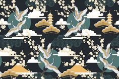 Our Dark Sky Oriental Wallpaper features deep greens and gold with a traditional Japanese style pattern.