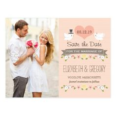 Yellow Save the Date Wedding Invitations BLUSH LOVE BIRDS DOVE SAVE THE DATE POSTCARD