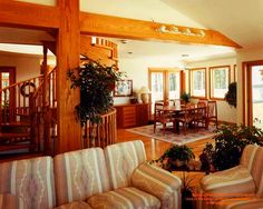 While I mostly post log and timber homes, I also design more conventional homes, this one in Ontario, Canada.  For more photos or this or any other or my homes, please check out my website, www.designma.com, my Design Page, www.facebook.com/loghomedesign  #postandbeam #livingroom #loghomedesign #horseshoevalley