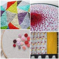French knot mania! I particularly like the french knots placed in the dots of the fabric