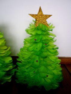 Fabryka niespodzianek...: Święta święta - choinki z piórek